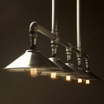 Five lamp Plumbing pipe billiard table light galvanised shades G95