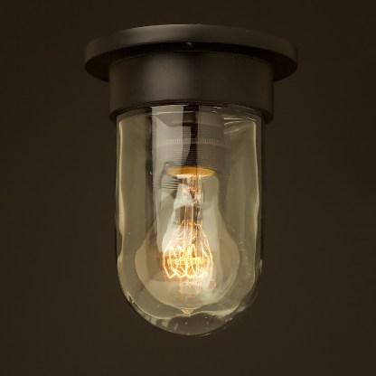 Small black flushmount light