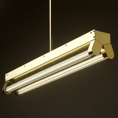 Polished brass twin LED tube office light