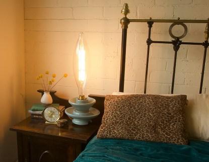 Blue insulator lamp bedside table
