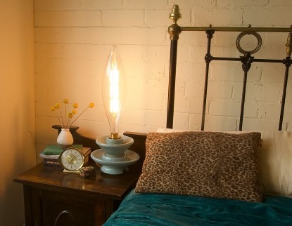 Blue insulator lamp bedside table