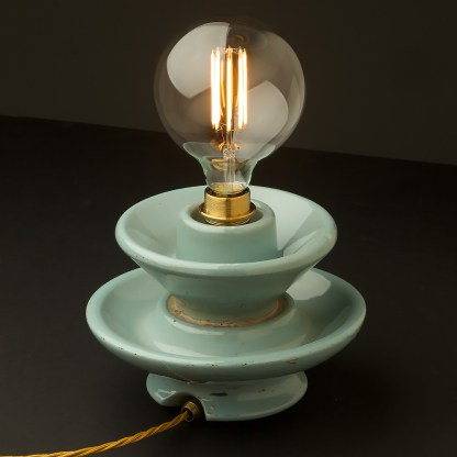 Vintage blue ceramic short insulator table lamp G125