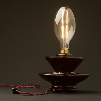 Vintage brown ceramic short insulator table lamp C100 globe