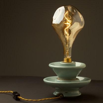 6 Watt dimmable filament LED amber glass A165 random globe table lamp