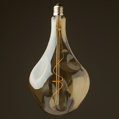 6 Watt dimmable filament LED amber glass A165 random globe off