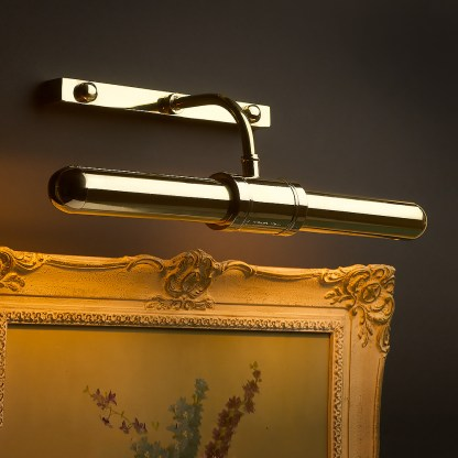 Twin tube thin brass cabinet display light (black background)