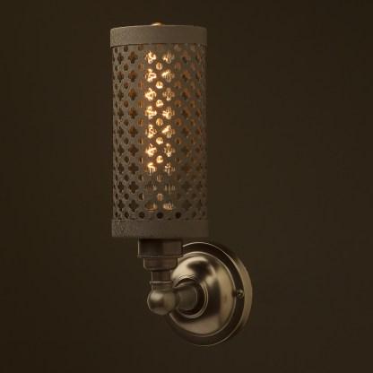 Bronze medium bulb club and round upright wall lamp crinkle black
