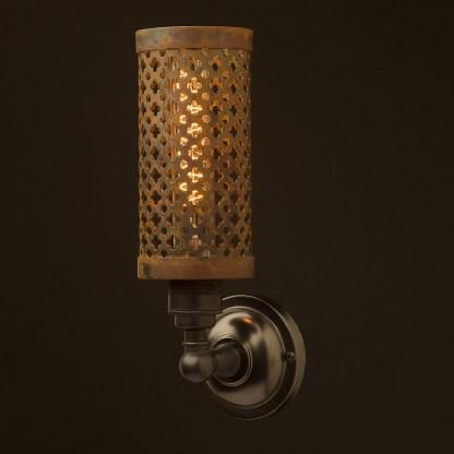 Bronze medium bulb club and round upright wall lamp rusty steel