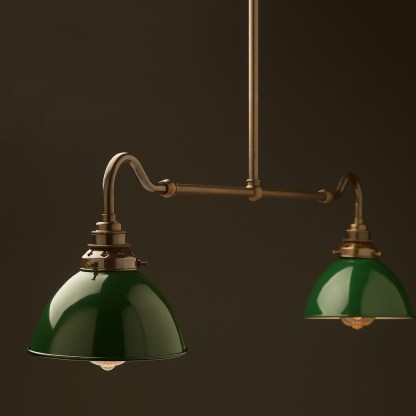 Antique brass single drop small table light green dome