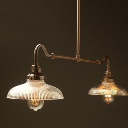 Antique brass single drop small table light holophane dish