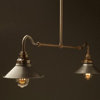 Antique brass single drop small table light steel hat