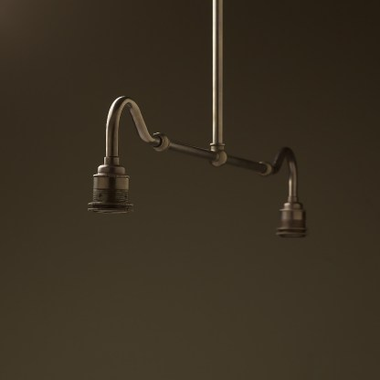 Bronze single drop small table light no shades or gallery