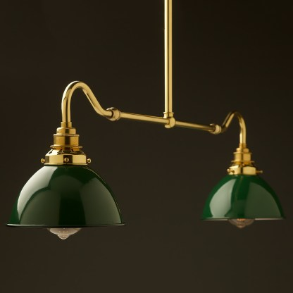 New brass single drop small table light green dome