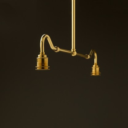 New brass single drop small table light no shades or gallery