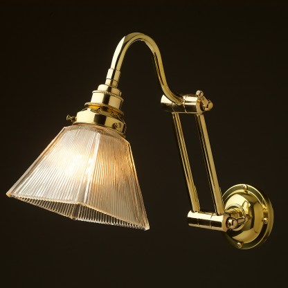 Two bend adjustable solid brass arm wall light box holophane