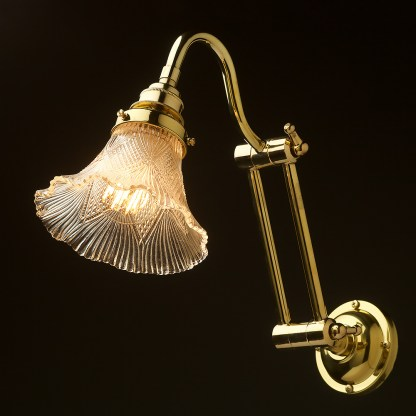 Two bend adjustable solid brass arm wall light victorian shade