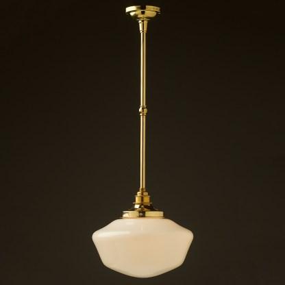 255mm opal glass schoolhouse brass fixed rod light new brass