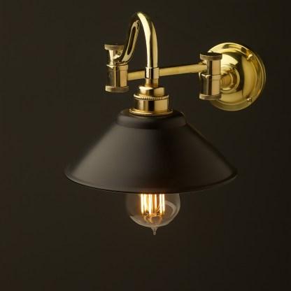 Horizontal bend adjustable solid brass arm wall light black shade 190mm