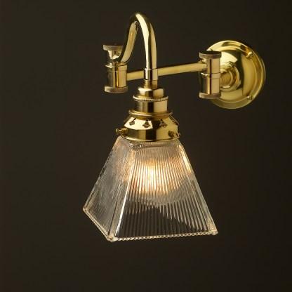 Horizontal bend adjustable solid brass arm wall light box holophane