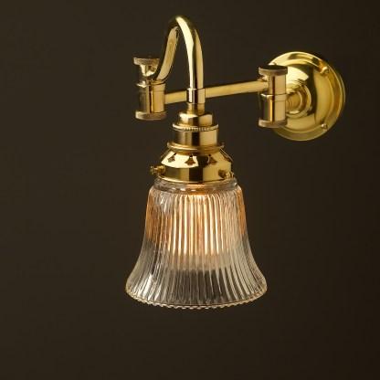 Horizontal bend adjustable solid brass arm wall light holophane bell