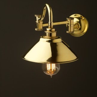 Horizontal bend adjustable solid brass arm wall light solid brass 190mm