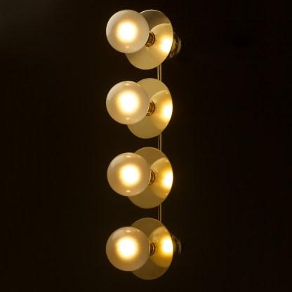 Four globe brass wall mount 180mm disc light G125 Pearl