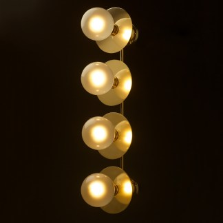 Four globe brass wall mount 180mm disc light G125 Pearl