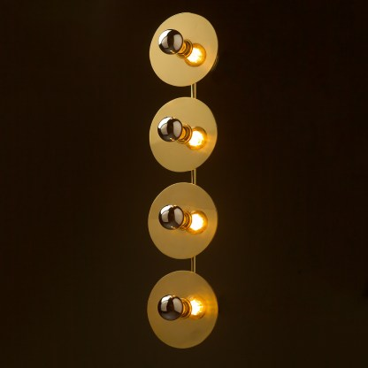 Four globe brass wall mount 180mm disc light GLS crown silver