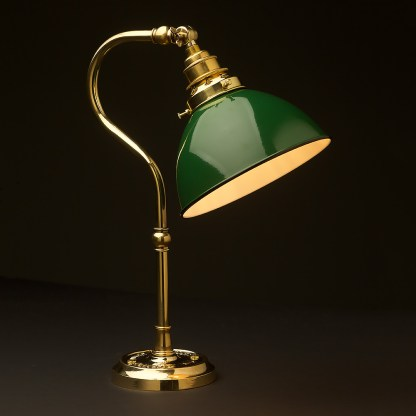 Brass small shade coventry bend bench light green dome