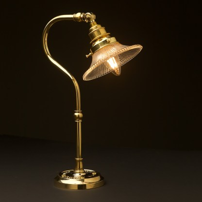 Brass small shade coventry bend bench light small holophane