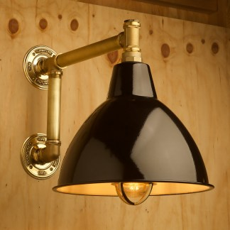 Large outdoor brass plumbing pipe straight arm wall shade black