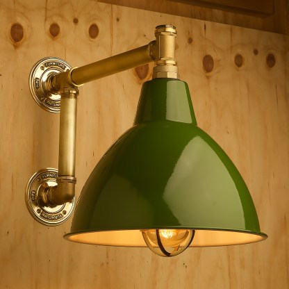Large outdoor brass plumbing pipe straight arm wall shade green