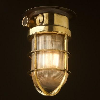 Vintage Ship's polished brass ceiling bulkhead light