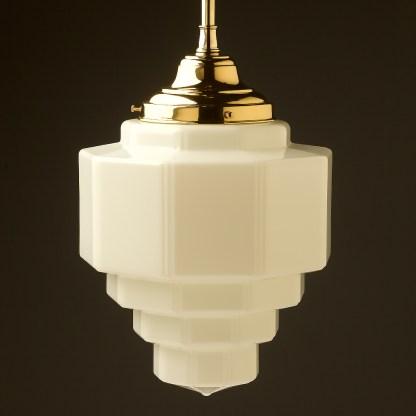 300mm wide Art Deco long opal glass brass fixed rod light off