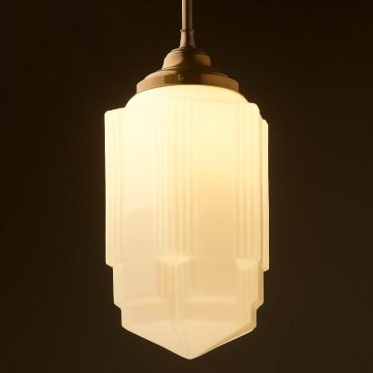 400mm tall Art Deco long opal glass brass fixed rod light antique brass