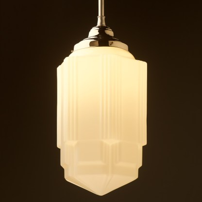 400mm tall Art Deco long opal glass brass fixed rod light nickel
