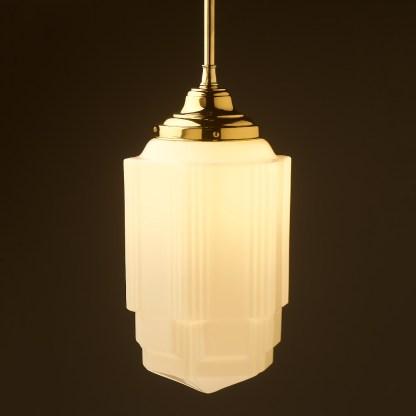 400mm tall Art Deco long opal glass brass fixed rod light
