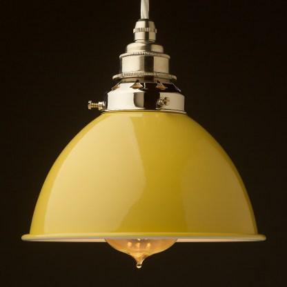 Pale Yellow Enamel Dome E27 Pendant nickel