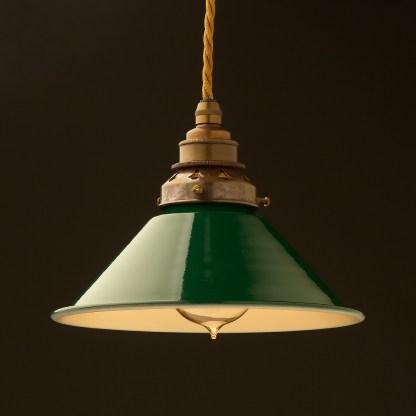 8 inch Green Coolie light shade pendant antique brass