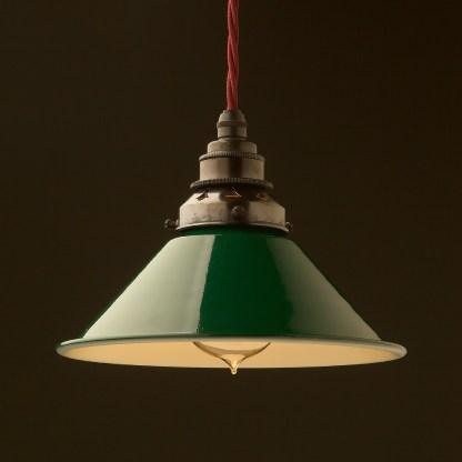 8 inch Green Coolie light shade pendant bronze