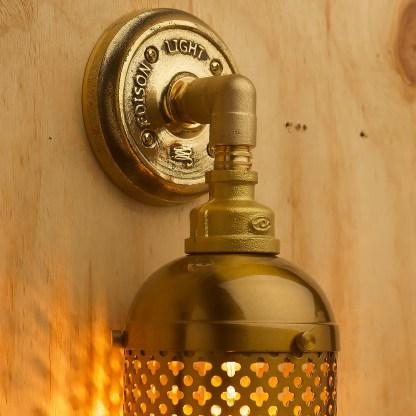 Brass Industrial Club&round wall guard tube light closeup