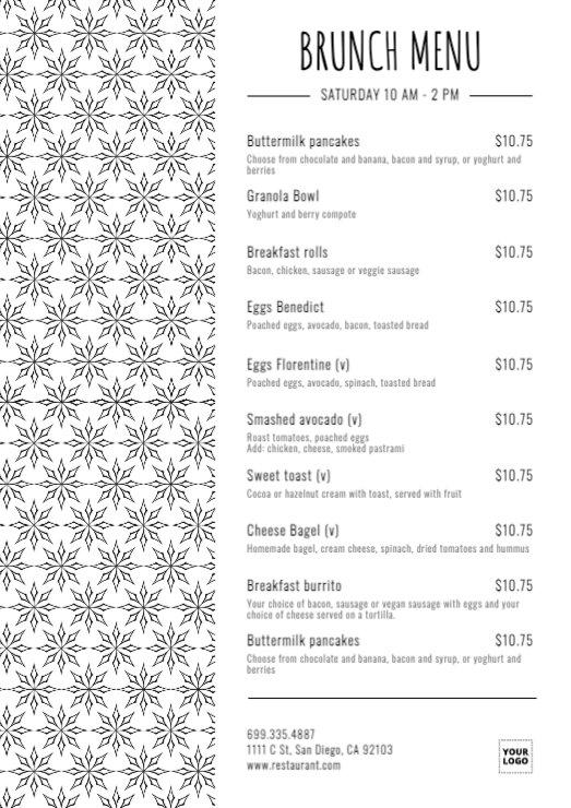 Editable breakfast and brunch menu templates