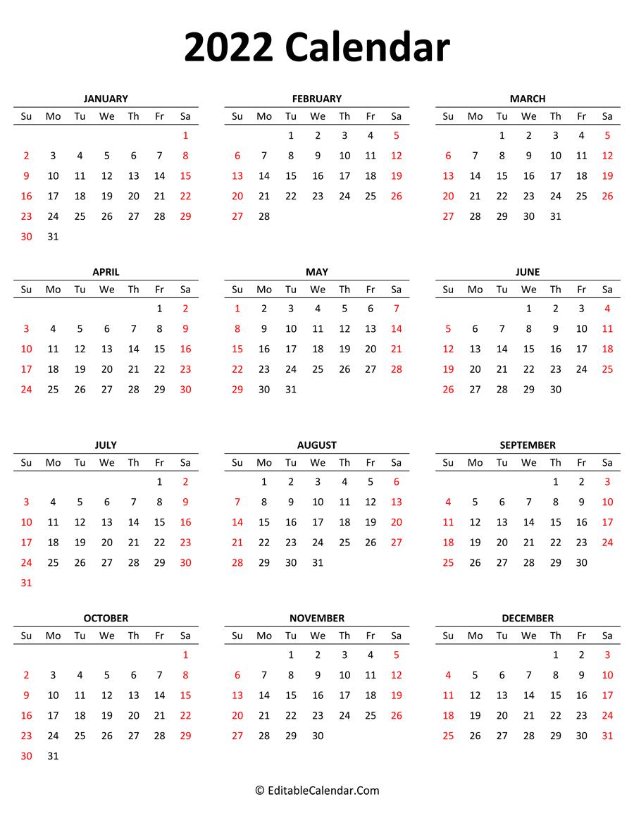 2022 Calendar (Portrait Orientation)