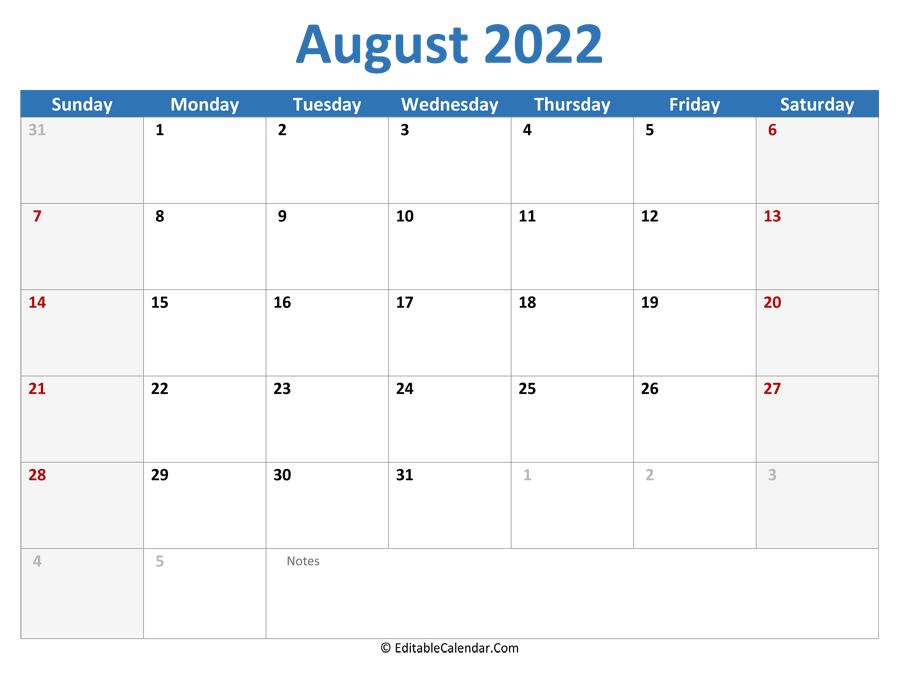 August 2022 Printable Calendar with Holidays
