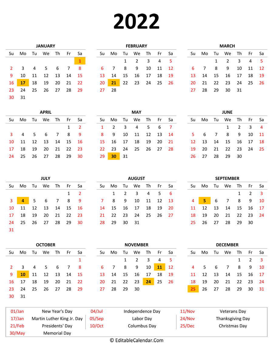 2022 Printable Calendar with Holidays (Portrait Orientation)