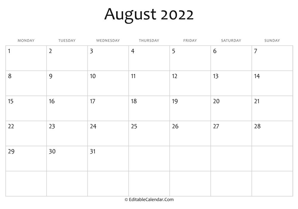 Sure, digital calendars are convenient — we can take them everyw. Editable Calendar August 2022