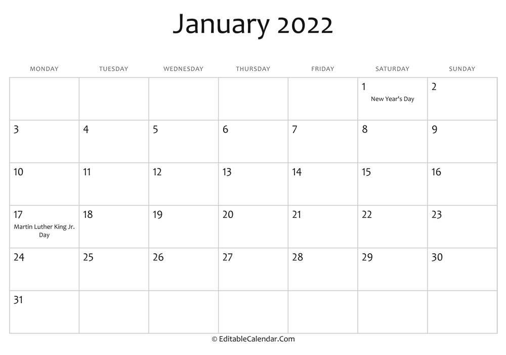 Editable Calendar January 2022