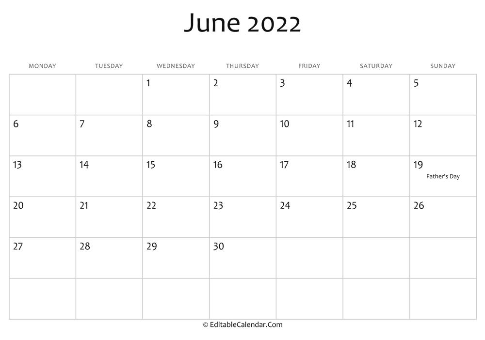 Editable Calendar June 2022