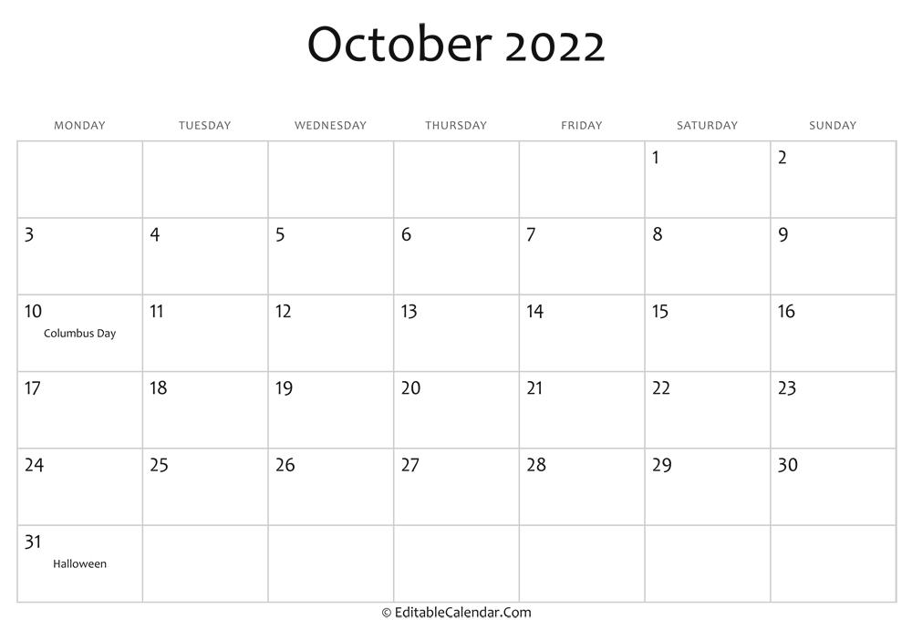 Editable Calendar October 2022
