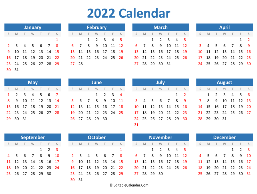 Printable 2022 Calendar (Landscape Orientation)